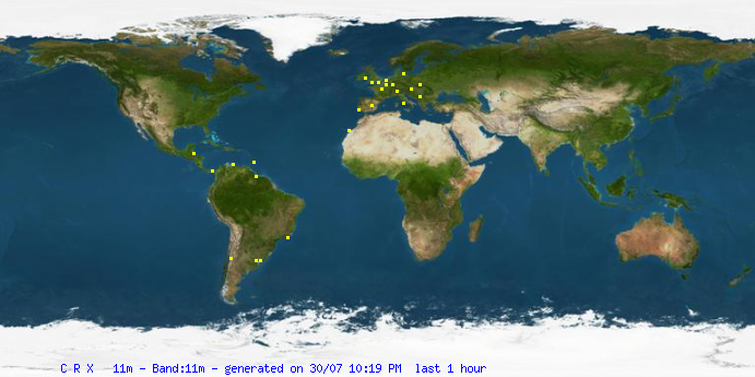 Latest 11m Spots from the CRX Cluster Network